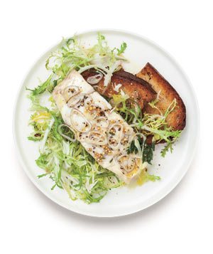 Poached Bass Over Frisée
