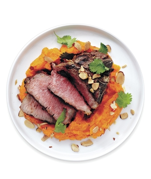 Grilled Lamb With Carrot-Red Pepper Puree