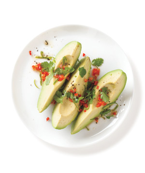 Avocado Salad With Spicy Cilantro and Red Chili Salsa