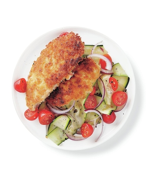Pan-Fried Chicken Cutlets With Zucchini Salad
