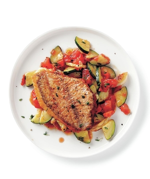 Seared Snapper With Sautéed Zucchini and Tomatoes
