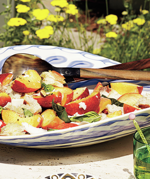 Peach, Basil, and Almond Panzanella