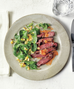 Steak With Hot-Sauce Butter and Corn-and-Spinach Salad