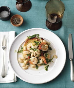 Shrimp With White Beans and Toast