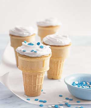 Cupcakes baked in ice cream cones