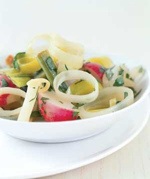 Buttered Leeks and Radishes