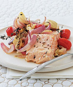 Roasted Fennel and Red Onion Salmon