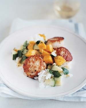 Scallops With Sweet Cucumber and Mango Salsa