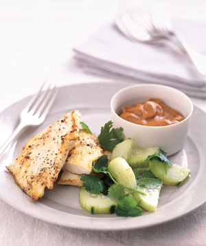 Sauteed Chicken With Peanut Dipping Sauce