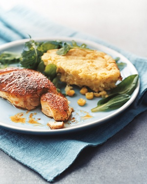 Blackened Striped Bass With Corn Spoon Bread and Greens