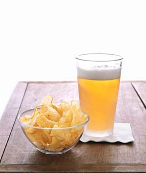 Beer with potato chips