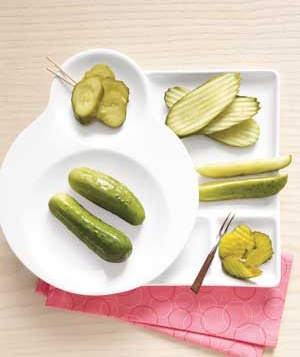 Pickles on plates