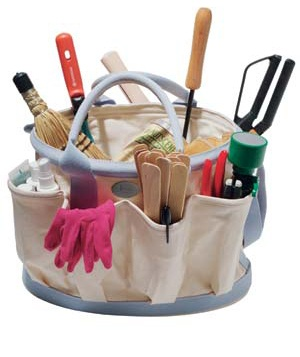 Bag filled with gardening supplies