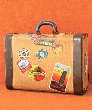 Suitcase with travel stickers