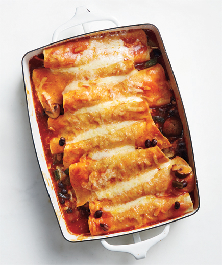Enchiladas with Mushrooms, Beans, and Cheese