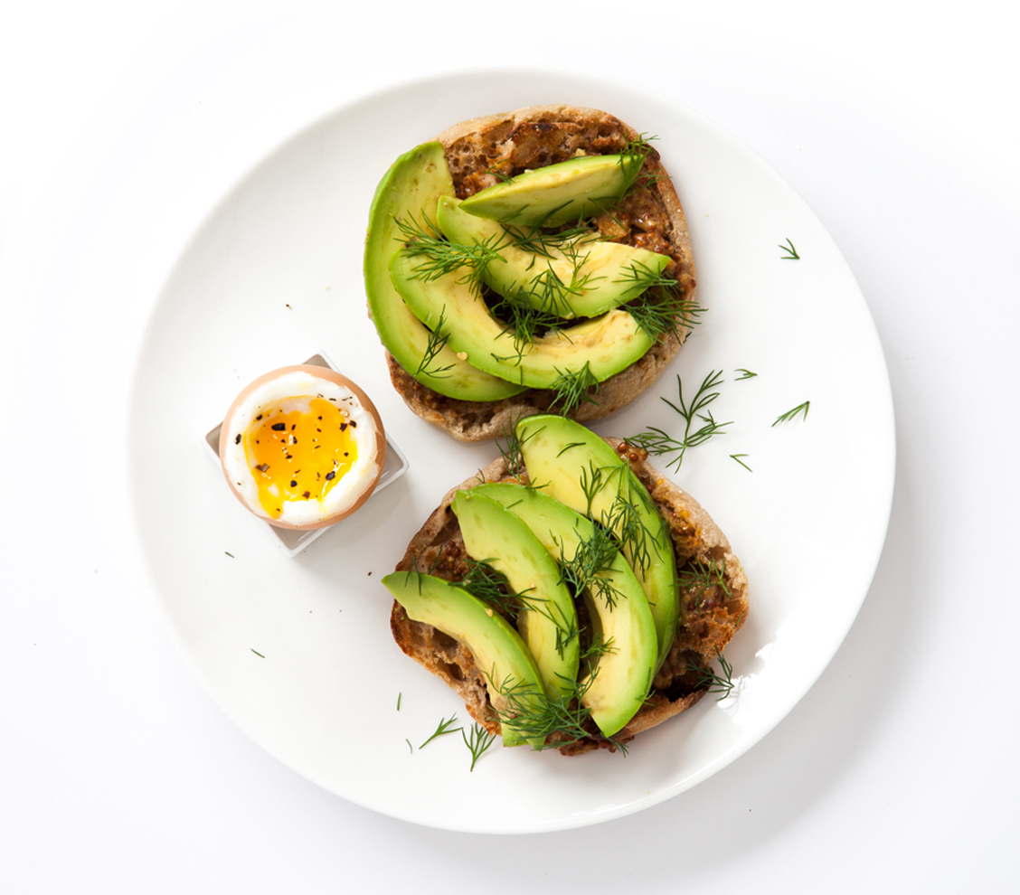 Mustard, Avocado, and Dill on a Whole-Wheat English Muffin with Boiled Egg