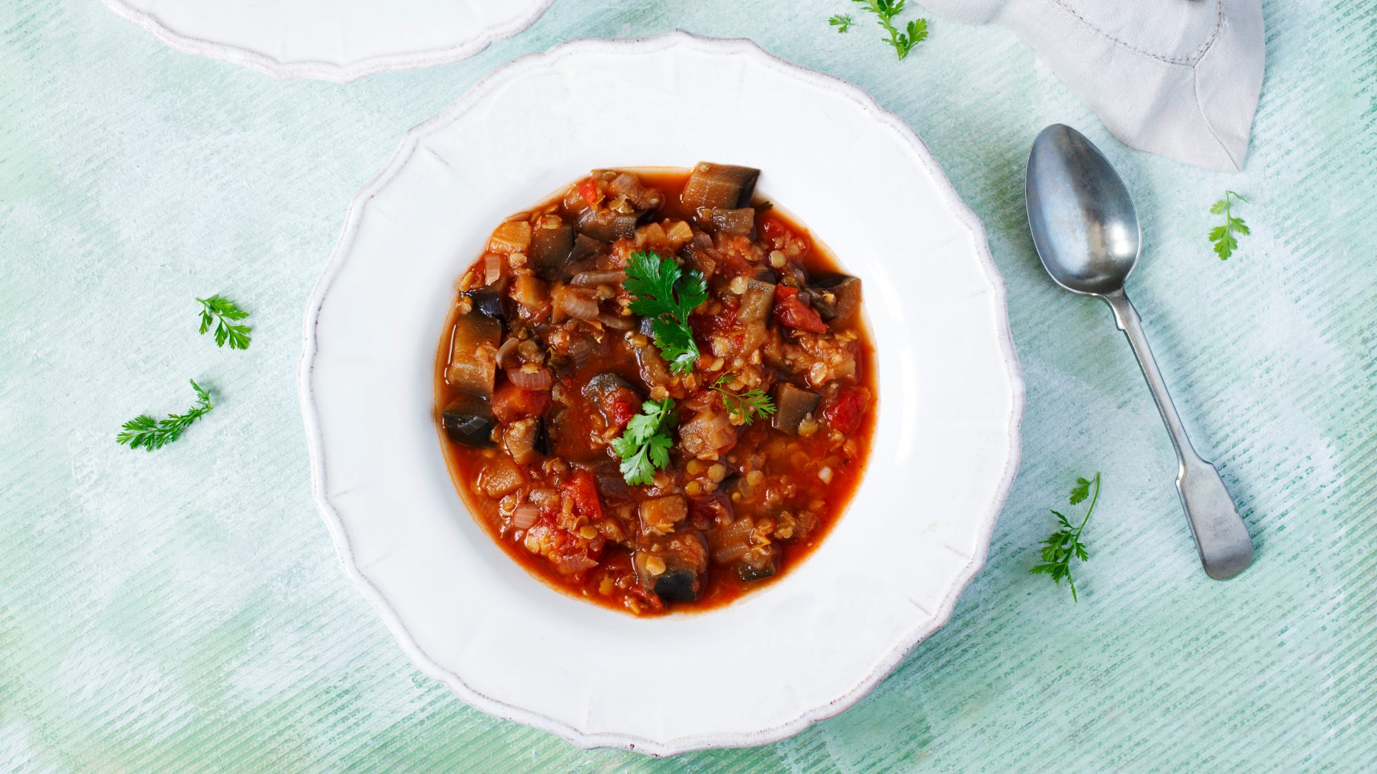 meat-free meal in a white bowl