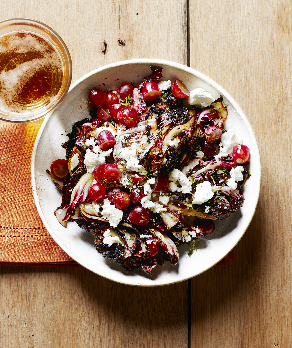 Grilled Radicchio Salad with Goat Cheese, Thyme, and Grapes