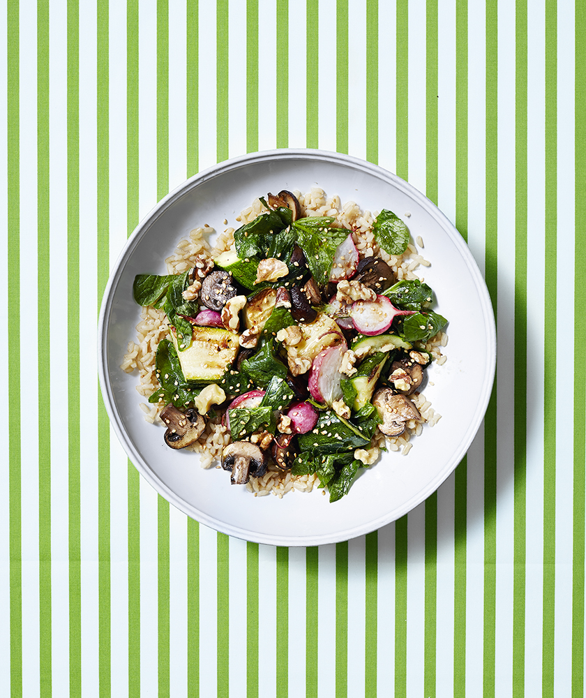 Brown Rice Bowls with Roasted Vegetables and Lemon-Soy Dressing