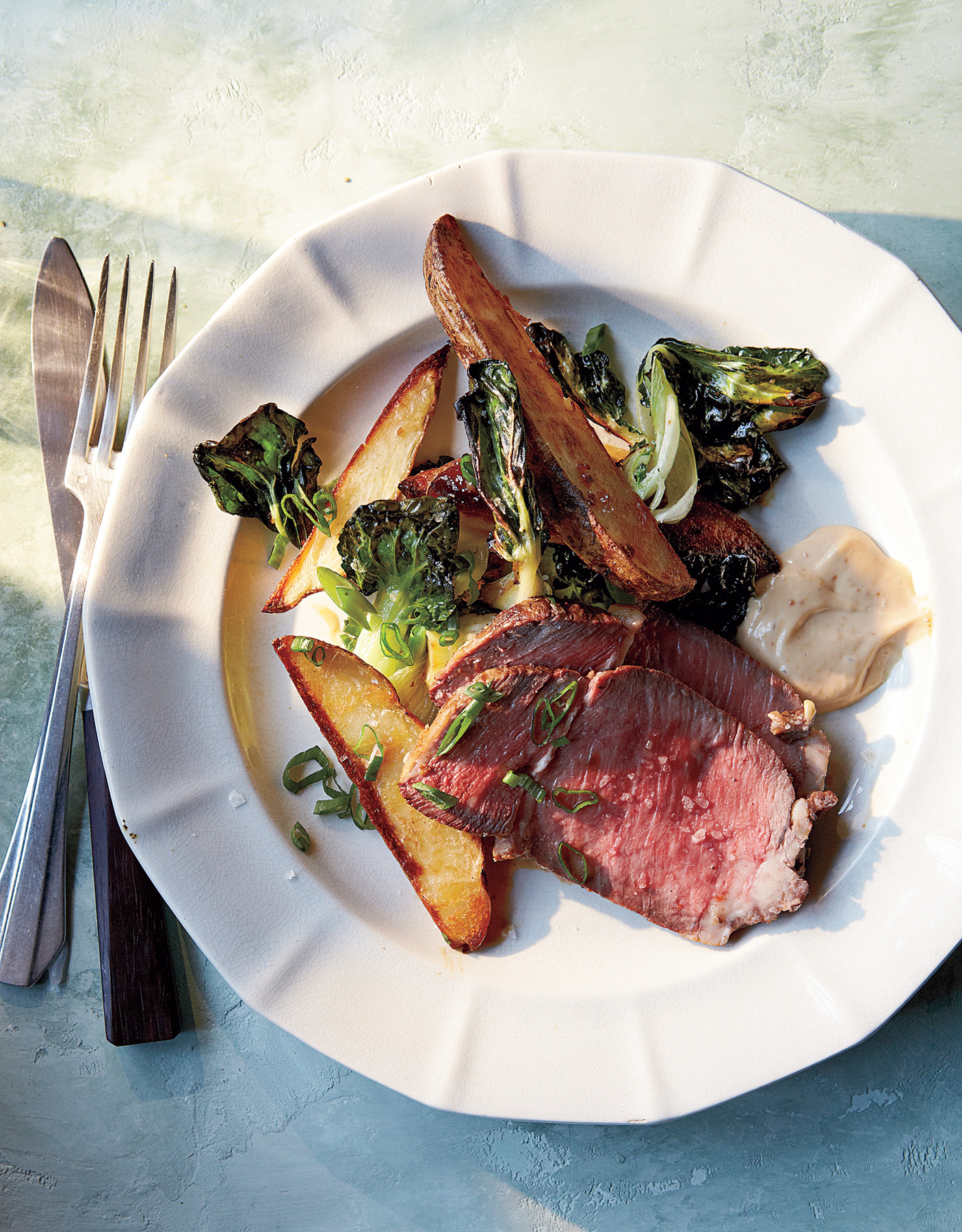 Roast Beef With Potatoes, Bok Choy, and Miso Mayo