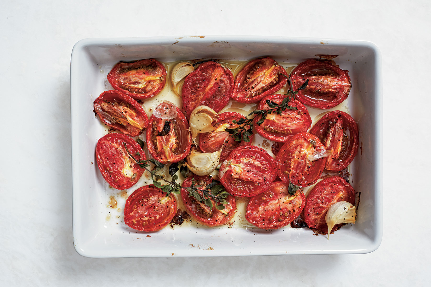 Slow-Roasted Plum Tomatoes with Garlic and Oregano
