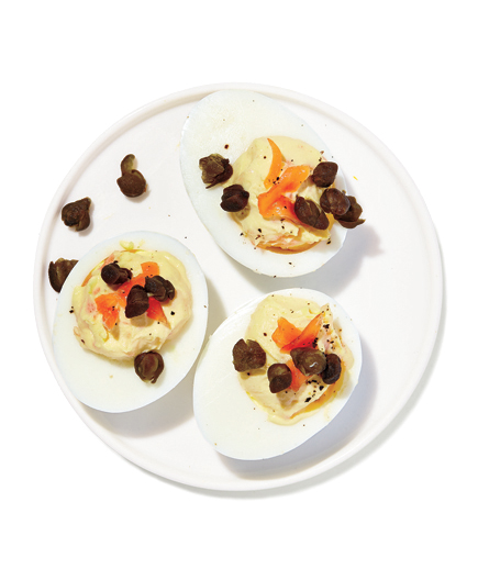 Deviled Eggs with Smoked Salmon and Fried Capers