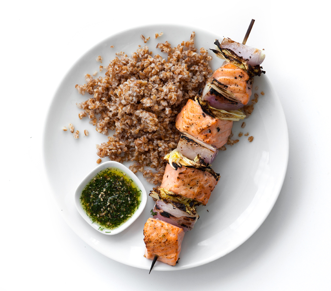 Salmon, Napa Cabbage, and Shallot Kebabs with Dill and Fennel-Seed Sauce Over Bulgur