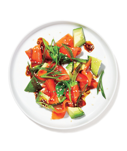 Salmon  Tartare  and Avocado with Sesame Dressing