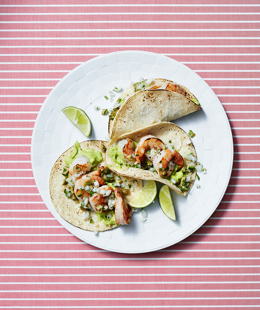 Shrimp Tacos with Guacamole Cream and Olive Salsa