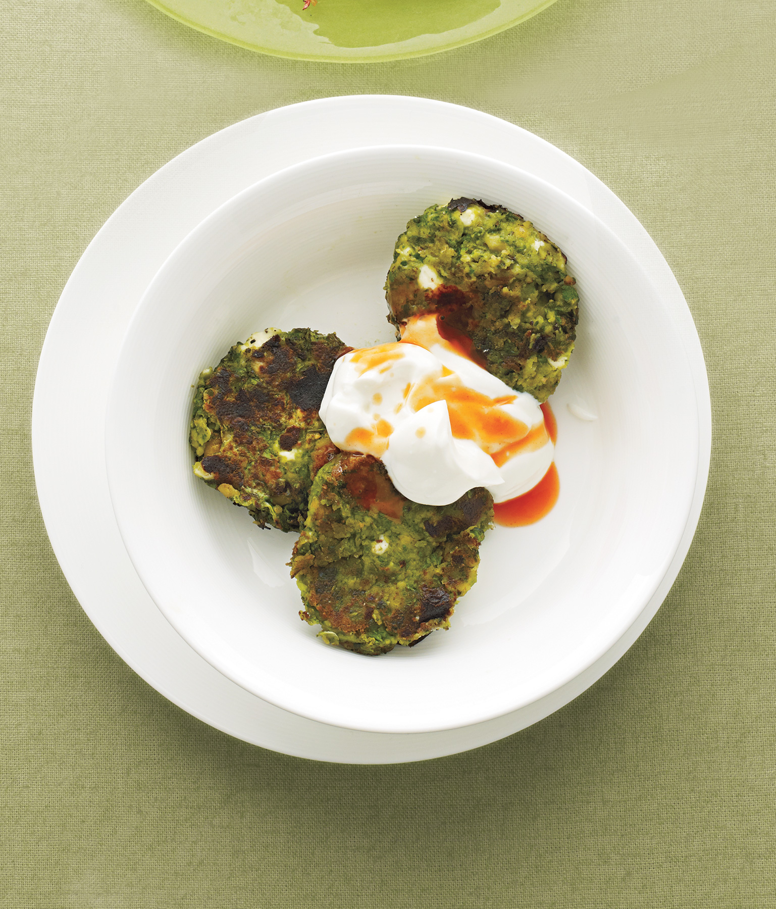 Swiss Chard and Chickpea Fritters With Yogurt