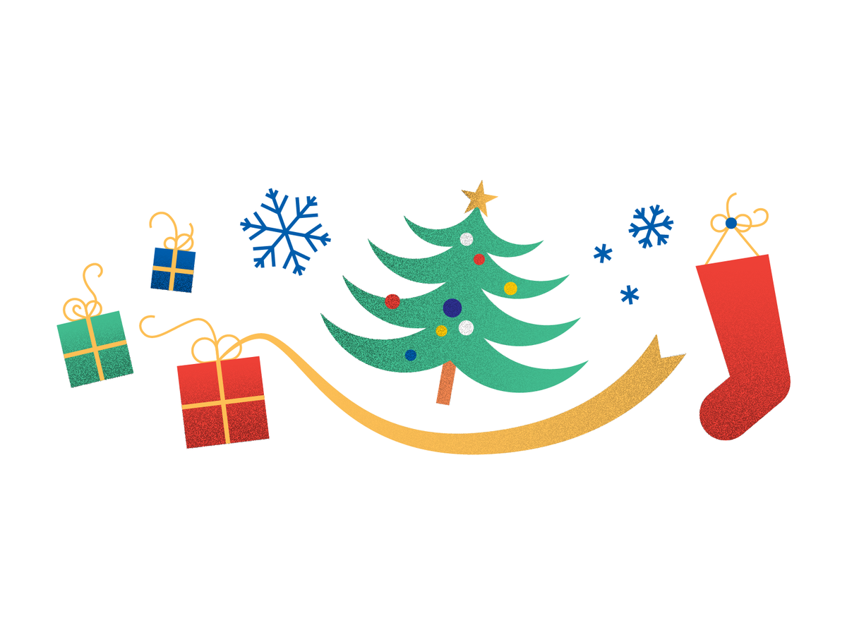 Illustration of a Christmas tree, snowflakes, a stocking, and presents