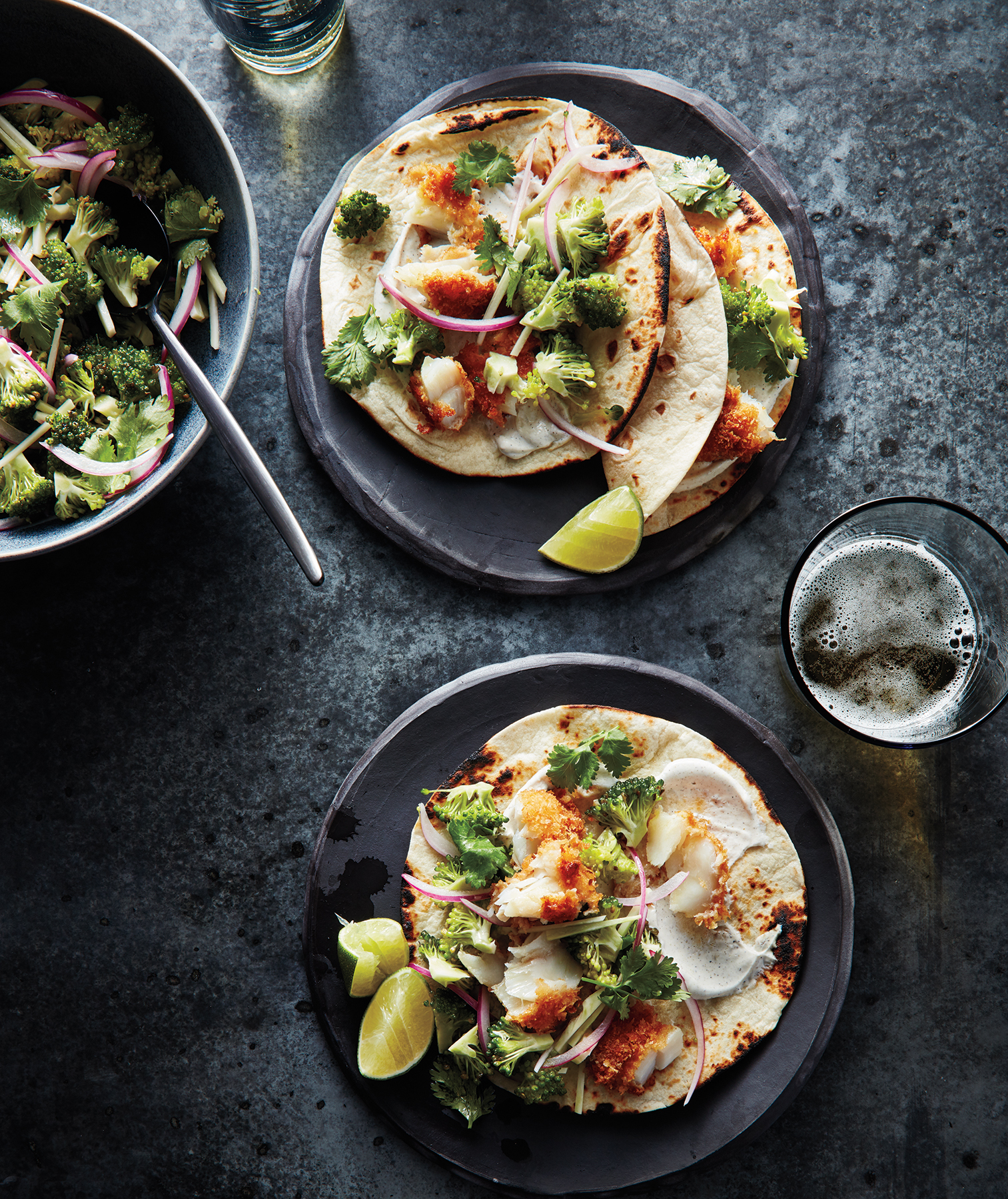 Fish Tacos With Broccoli Slaw and Cumin Sour Cream