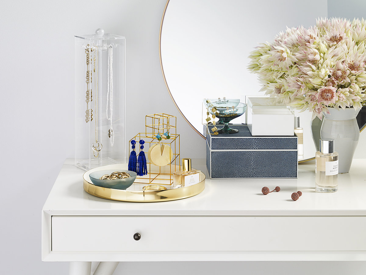 Vanity with organized jewelry