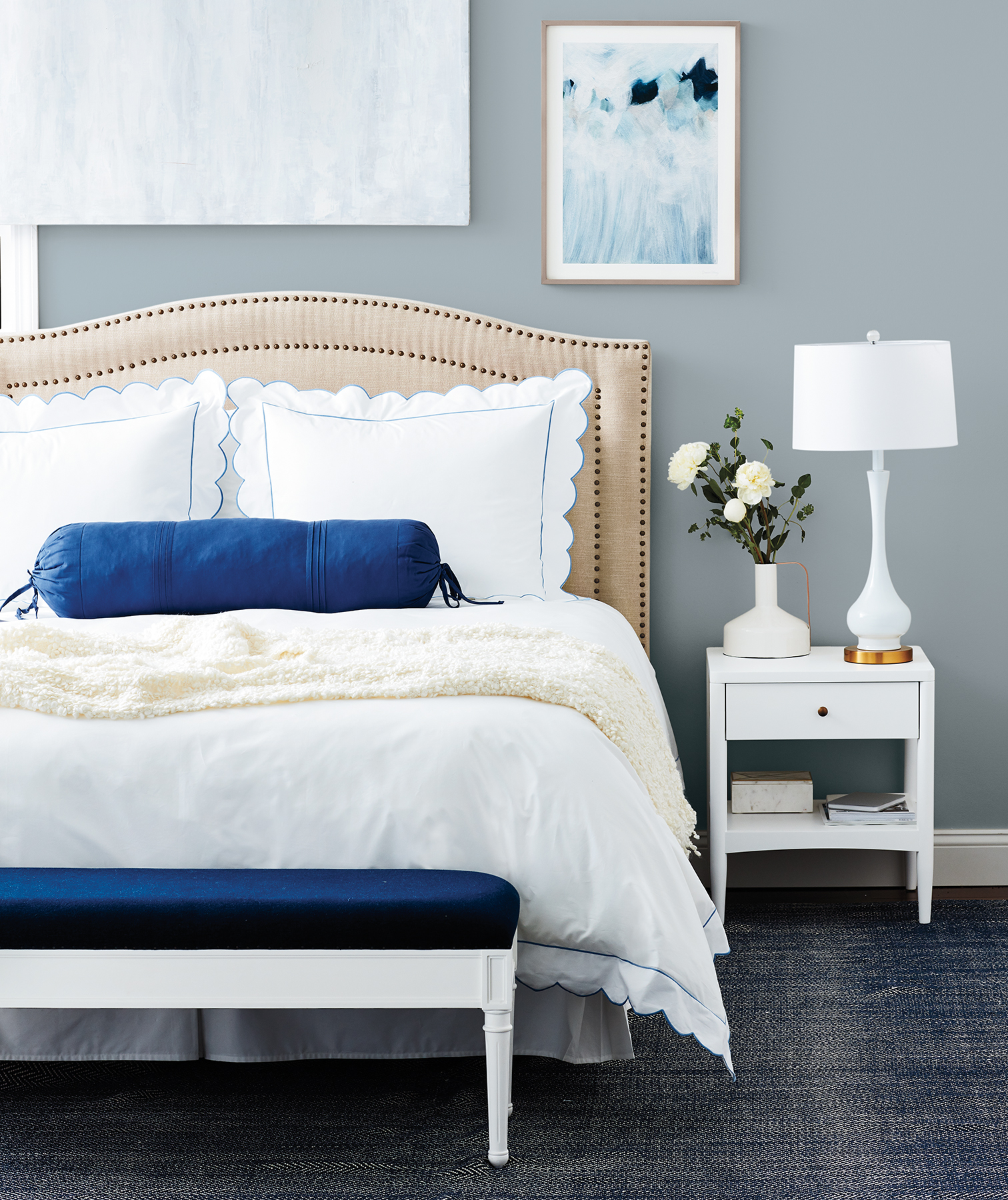 Classic bedroom in grays, blues, whites