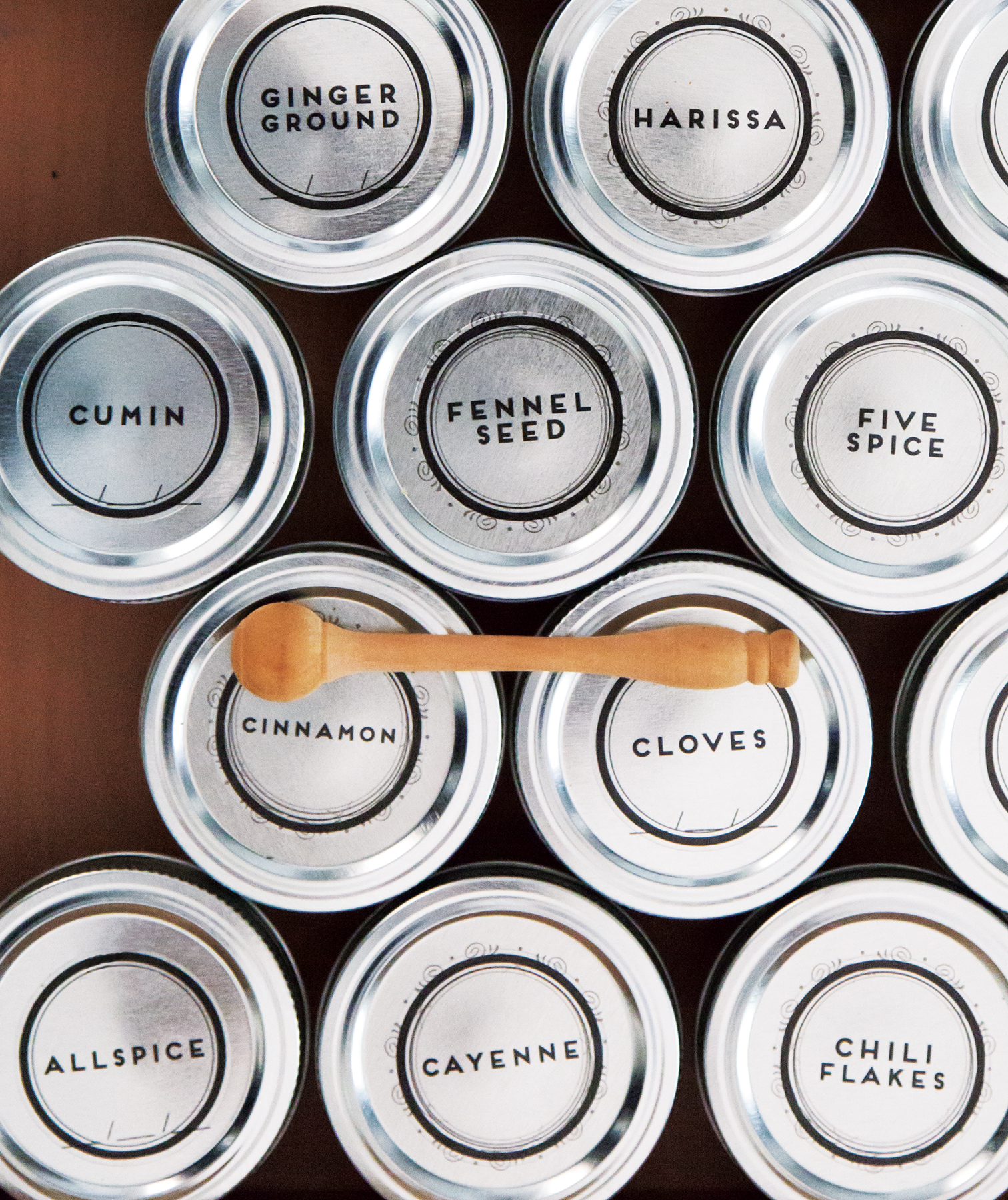 Spices in uniform, labeled containers