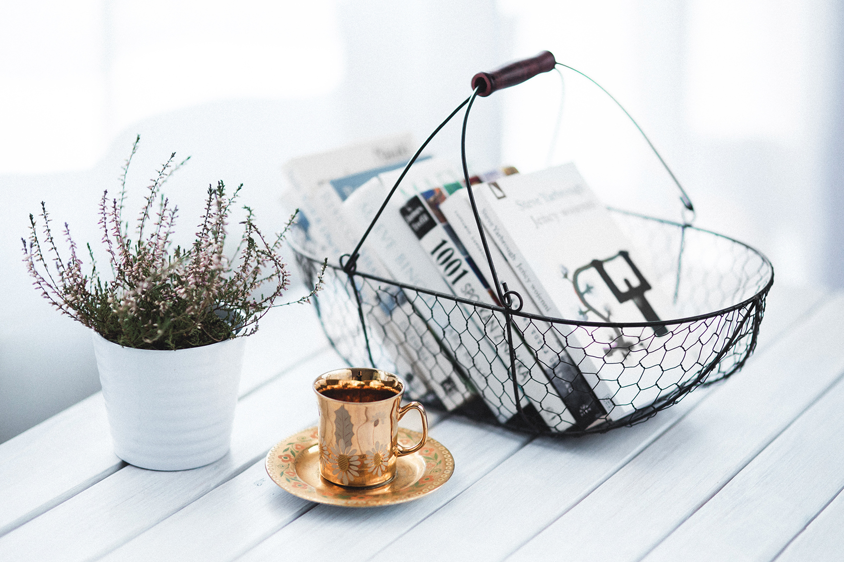 Wire basket decluttering solutions