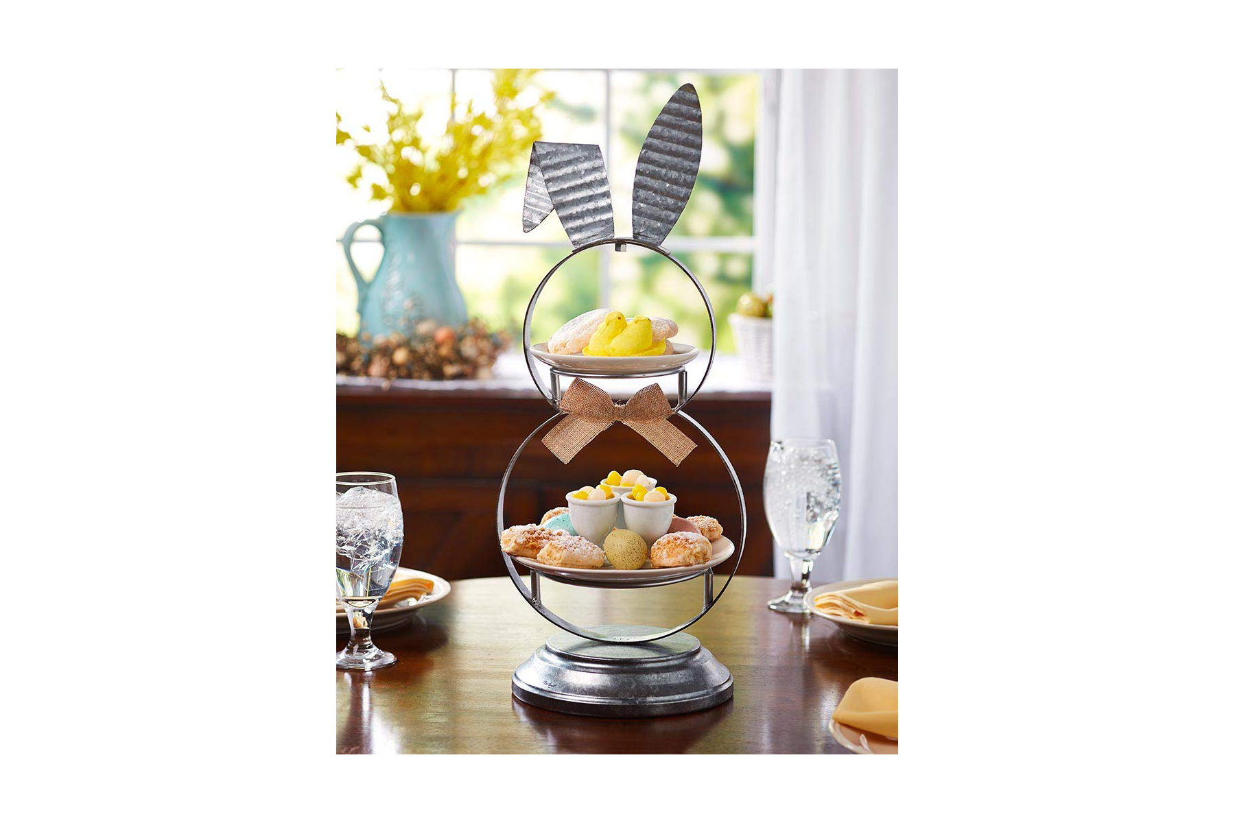 The Lakeside Collection Two Tier Bunny Server for Easter