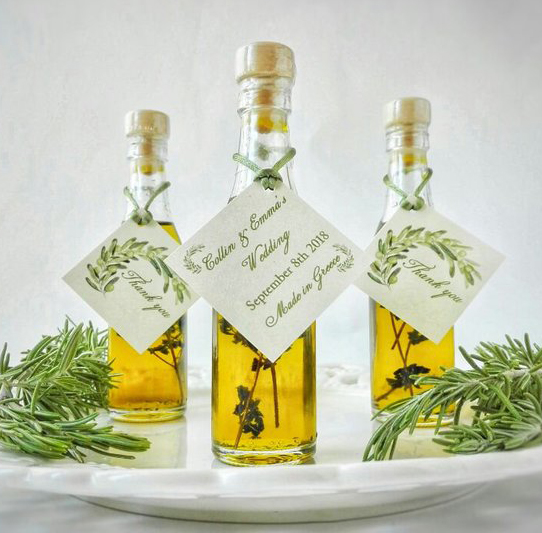Edible wedding favors: infused olive oil wedding favors