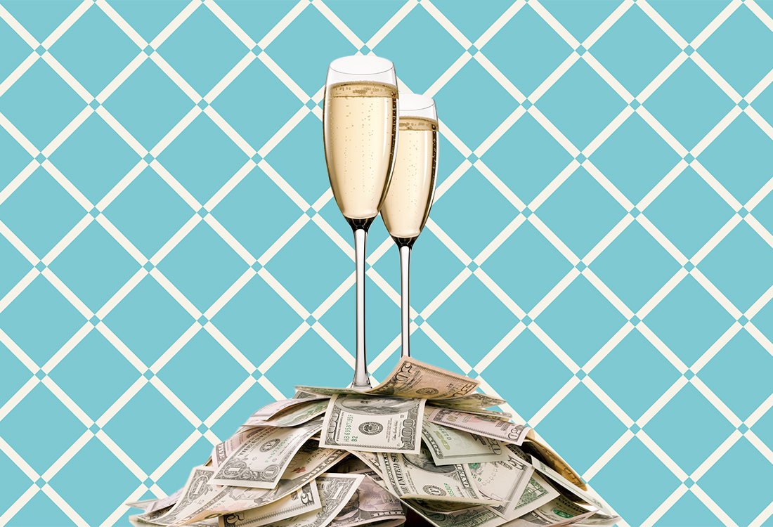 champagne and money graphic: Survey: This Is the Average Cost of Bachelor and Bachelorette Parties