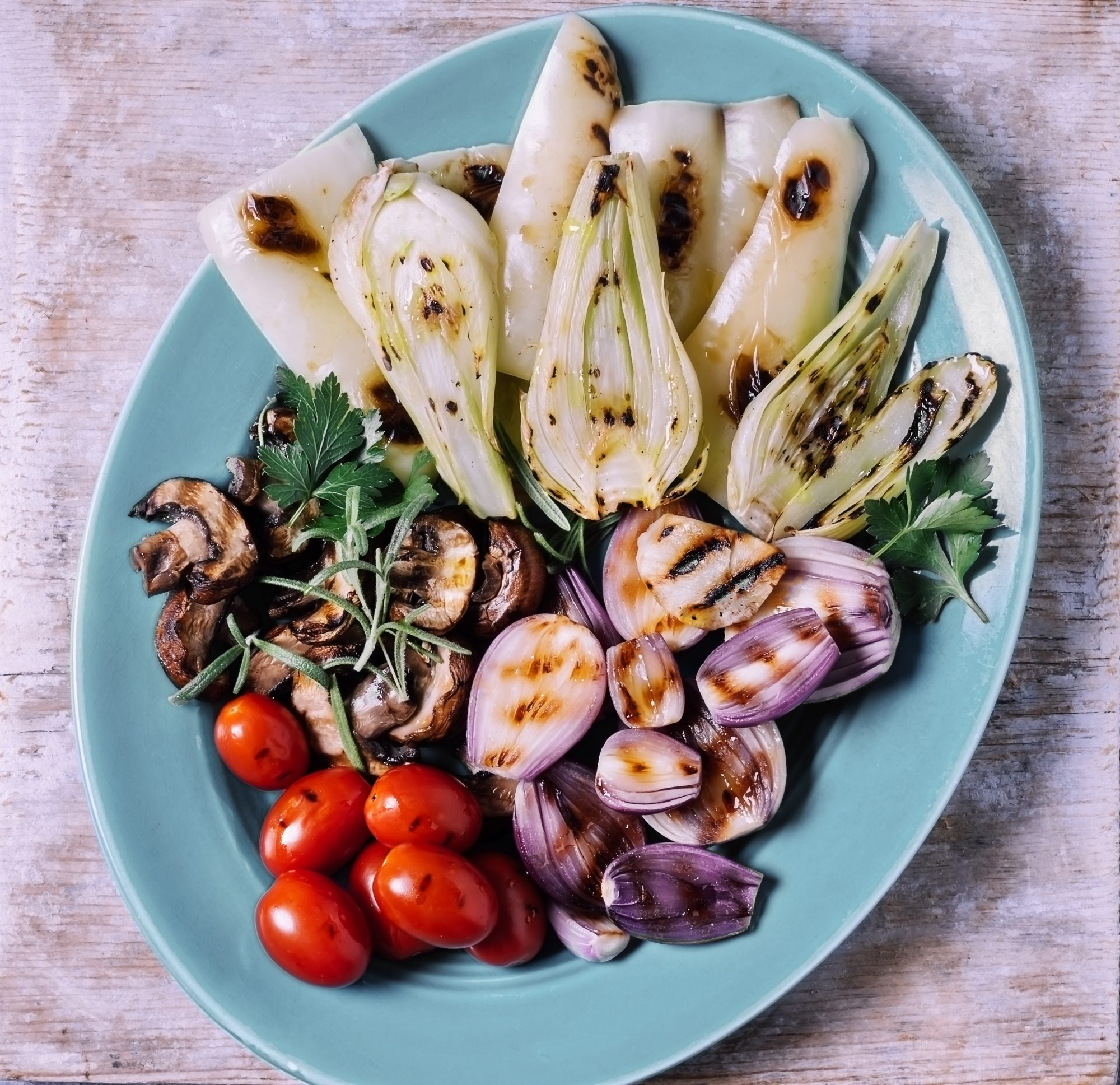 plate with healthy cooked vegetables