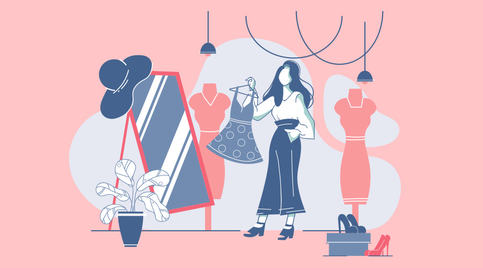 What to Wear to Every Ocassion: woman in closet illustration