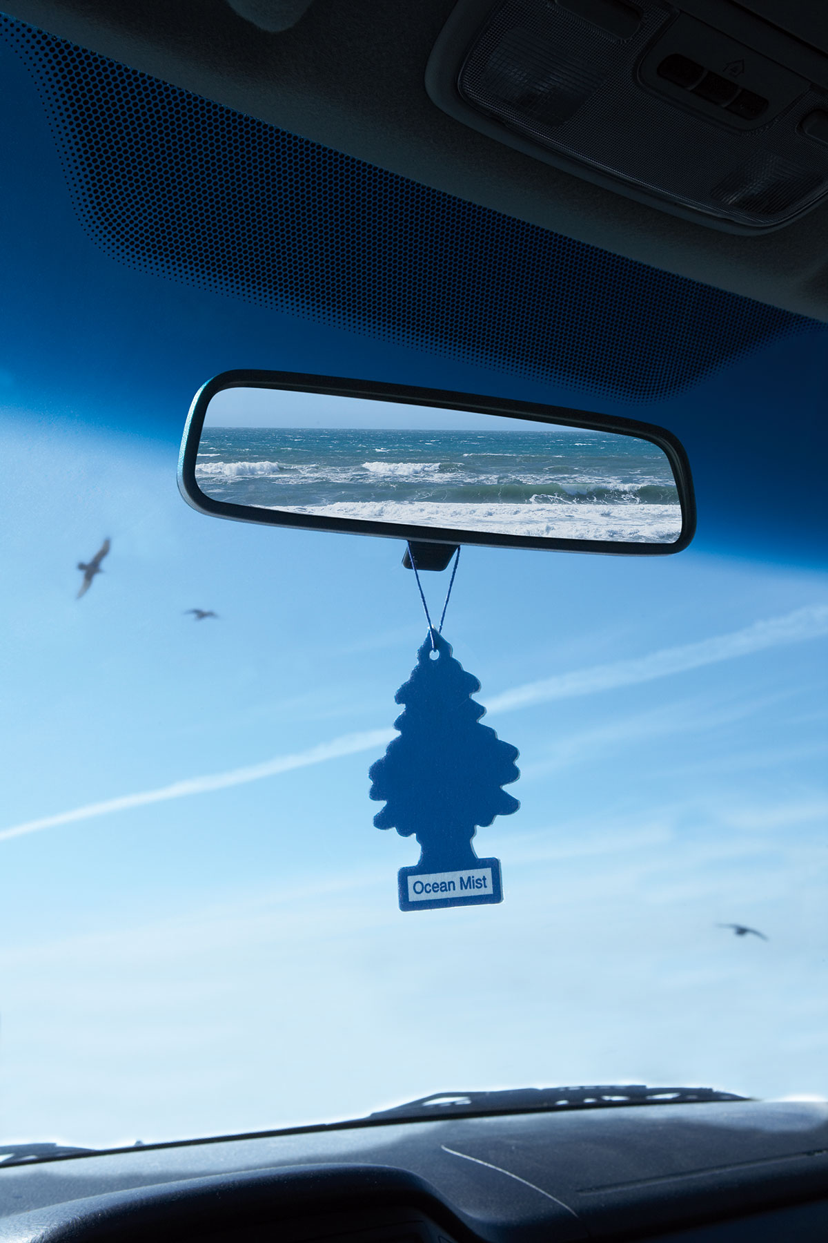 Air freshener hanging from a rear view mirror