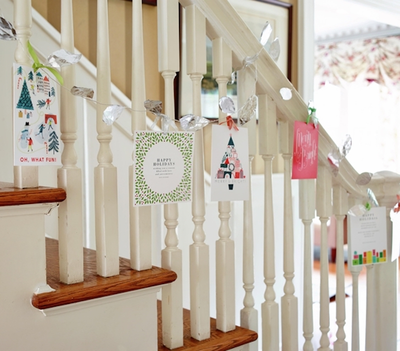 Christmas decoration ideas, garland with holiday cards