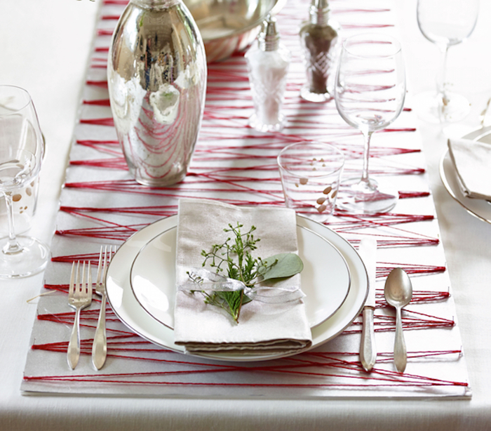 Christmas decoration ideas, String and poster board holiday table runner