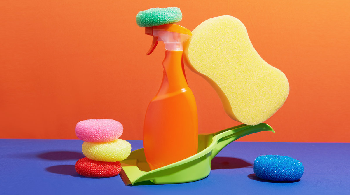 image of colorful cleaning supplies: The Ultimate Cleaning Checklist and House Cleaning Schedule
