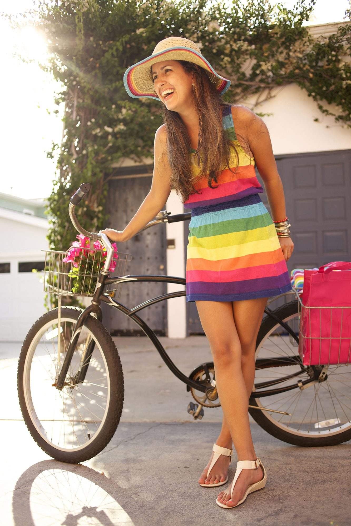 Woman in colorful outfit