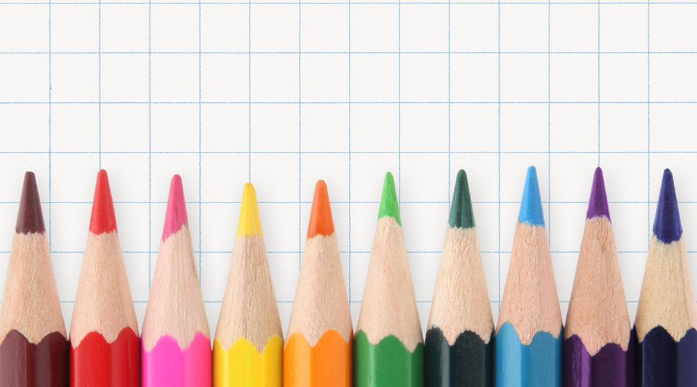 Colored pencils and graph paper