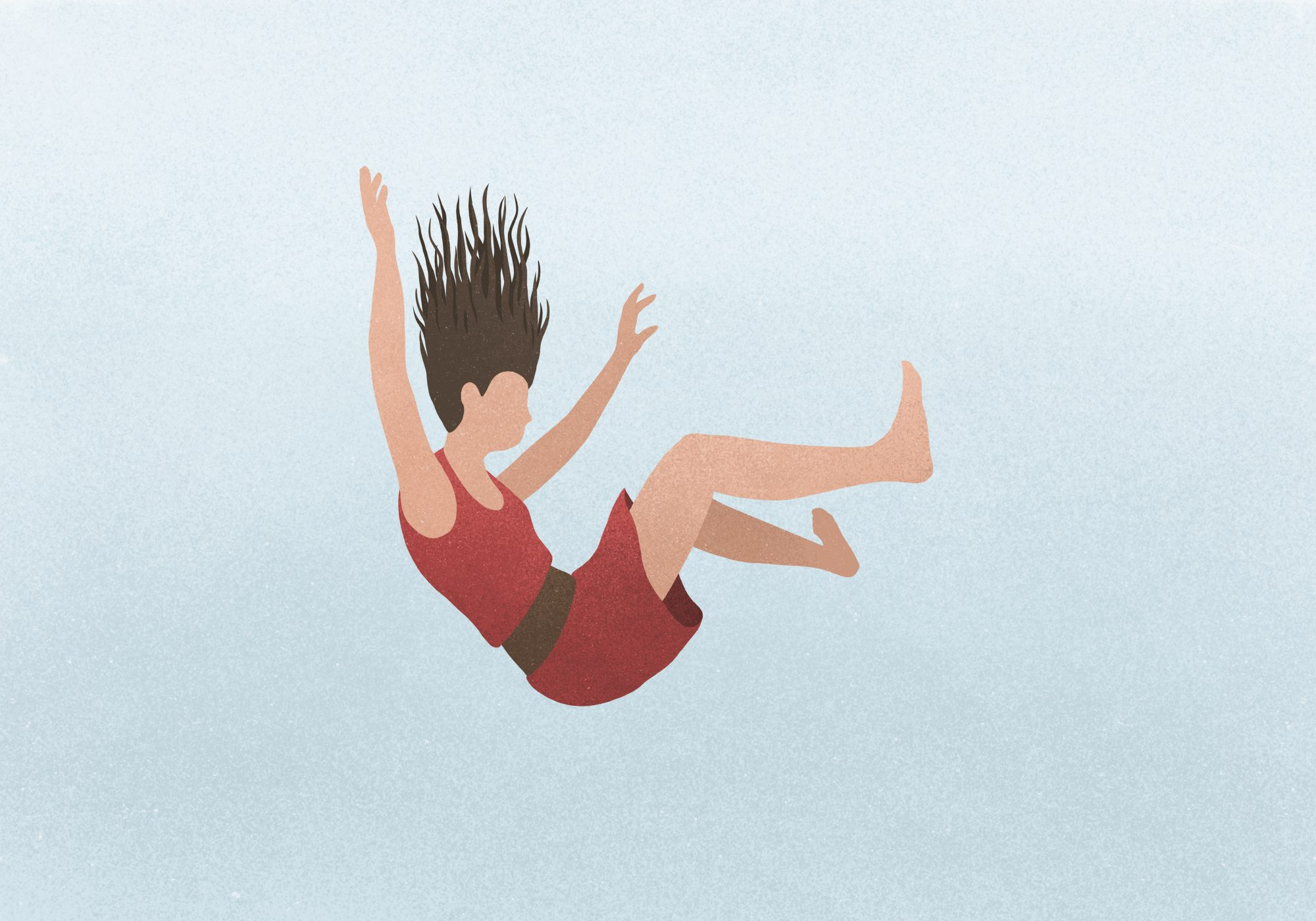 illustration of woman falling: coping with anxiety