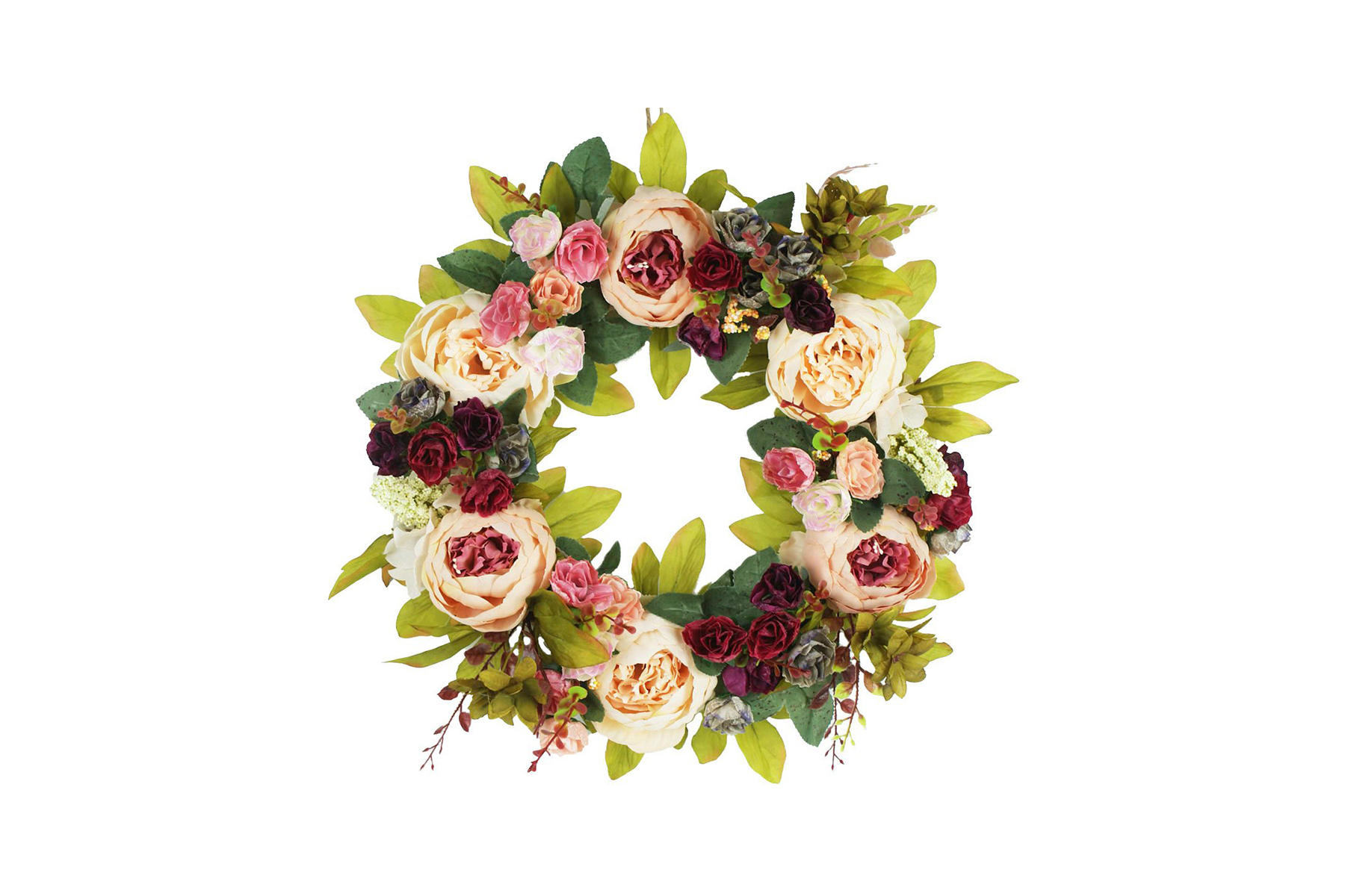 Faux Peony Flowers Grapevine Wreath for Easter