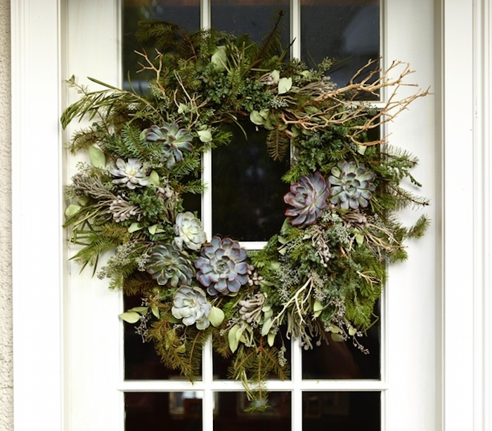 Christmas decoration ideas, Wreath with evergreen and succulents